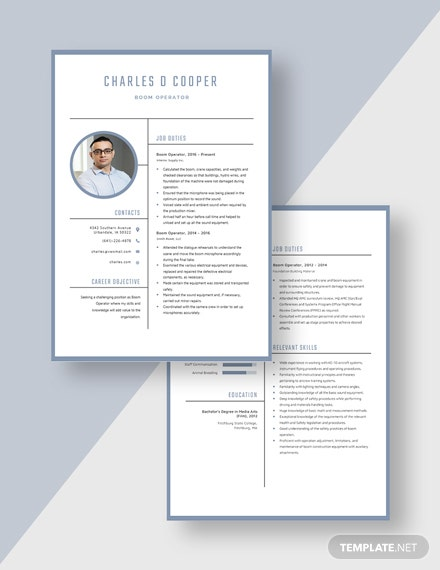 Boom Operator Resume Download