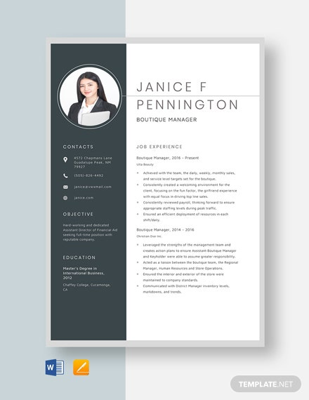 Boutique Manager Resume Template