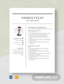 Box Truck Driver Resume Template