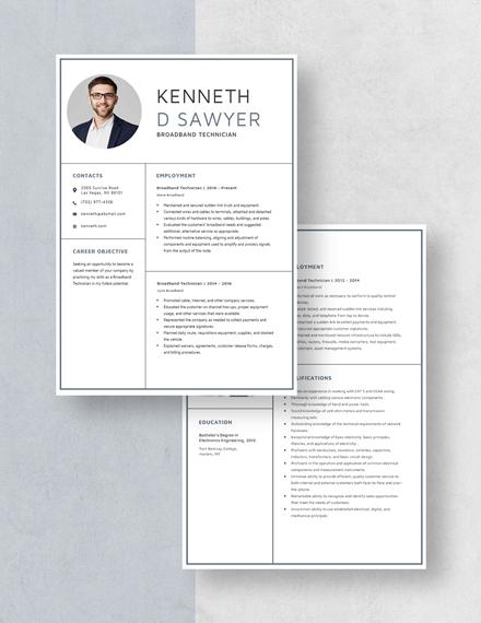 Broadband Technician Resume Template - Word (DOC) | Apple ...