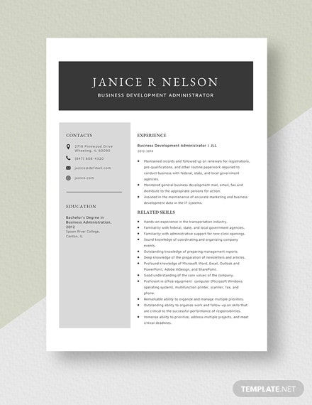 Business Development Administrator Resume Template