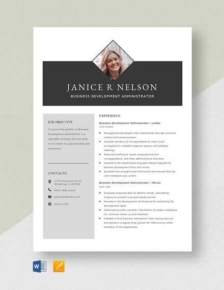 Business Development Administrator Resume