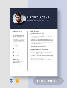 Business Relations Manager Resume Template