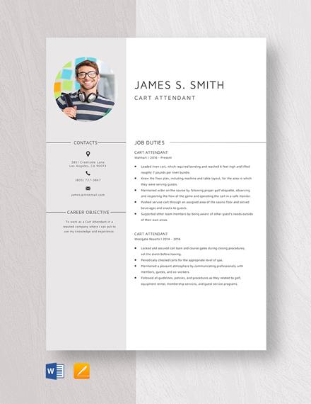 Cart Attendant Resume Template