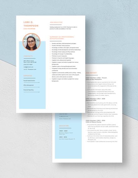 CASA Volunteer Resume Download