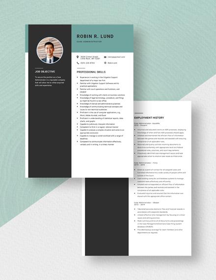 Case Administrator Resume Download