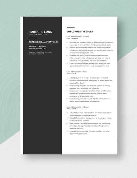 Case Administrator Resume Template
