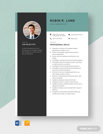 Case Administrator Resume Template