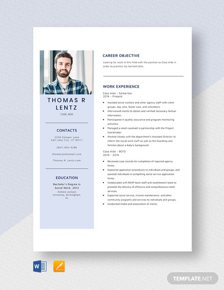 Case Aide Resume Template