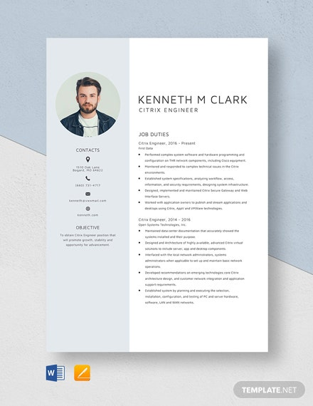 Citrix Engineer Resume Template