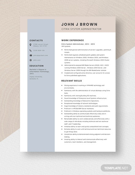Citrix System Administrator Resume Template - Word | Apple ...