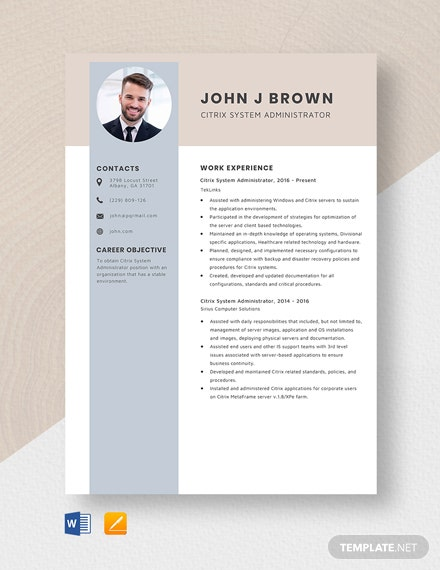 Citrix System Administrator Resume Template
