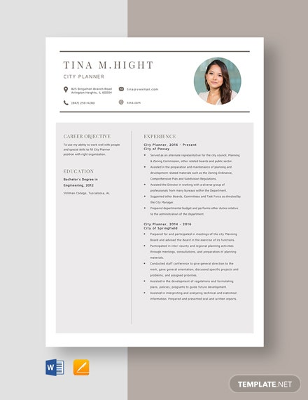 City Planner Resume Template