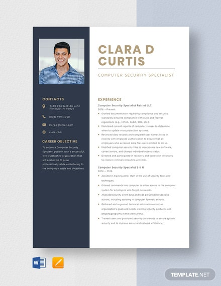 Computer Security Specialist Resume Template