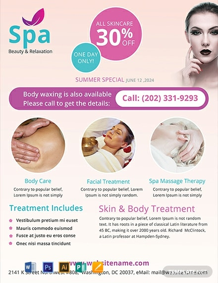 Free Spa Flyer Template