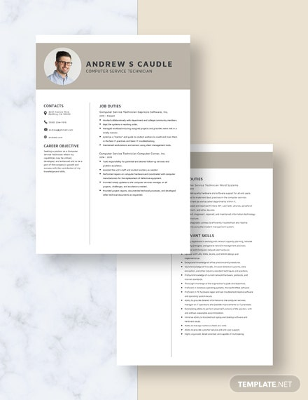 Computer Service Technician Resume Download