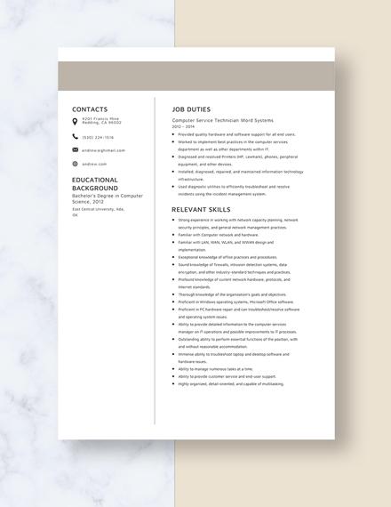 Computer Service Technician Resume Template