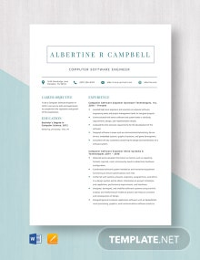 Computer Software Engineer Resume Template