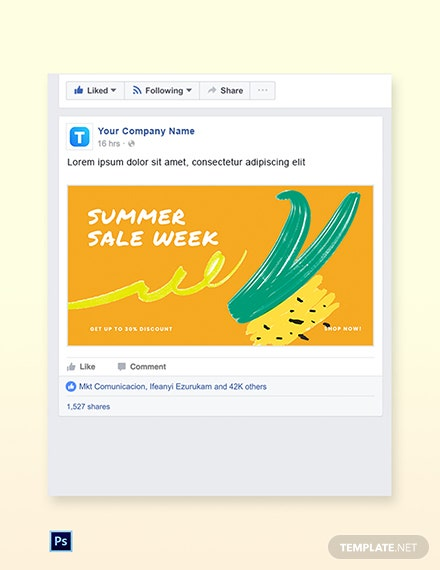 Free Summer Sale Facebook Post Template