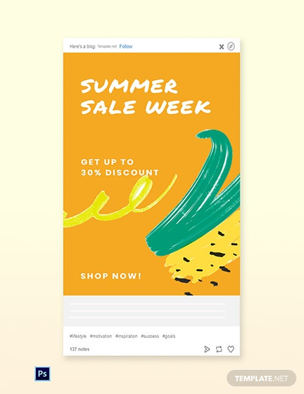 Free Summer Sale Tumblr Post Template
