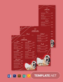 Editable Valentine's Day Menu Template