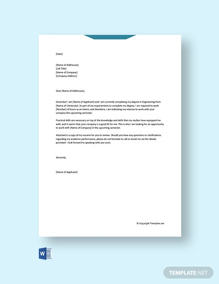 Free Cover Letter for Internship Engineering