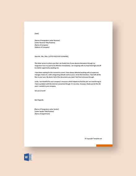 Funny Job Resignation Letter