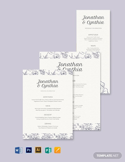 Dinner Wedding Menu Template