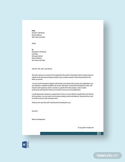 Free Sample Letter of Intent for Employment Contract