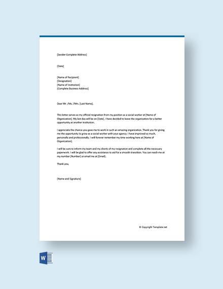 Free Social Worker Resignation Letter