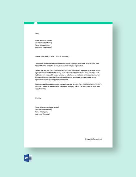 Volunteer Service Recommendation Letter