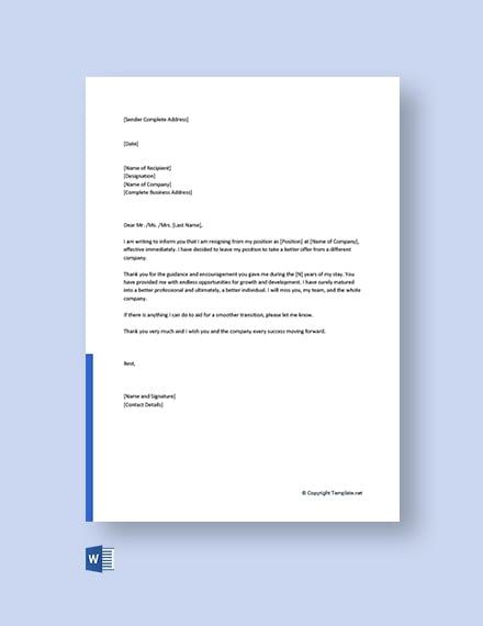 Free Work Resignation Letter