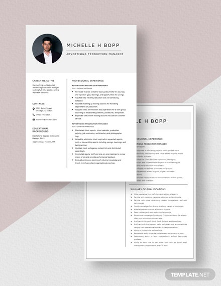 Advertising Production Manager Resume Download