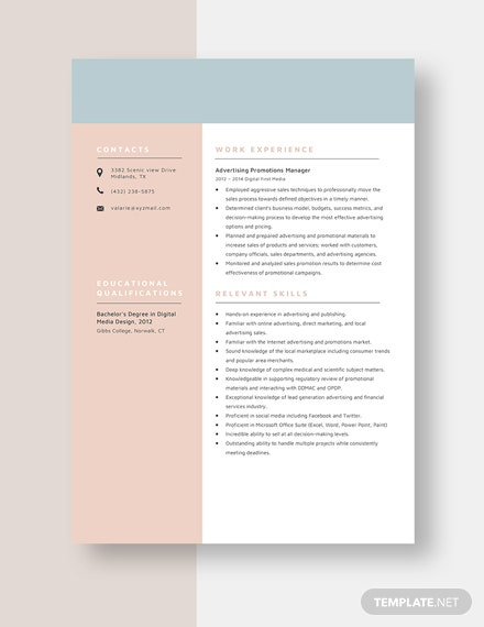 Advertising Promotions Manager Resume Template