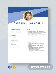 Airline Baggage Handler Resume Template