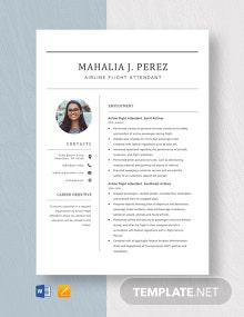 Airline Flight Attendant Resume Template