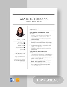 Airline Ramp Agent Resume Template