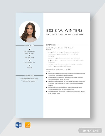 Assistant Program Director Resume Template