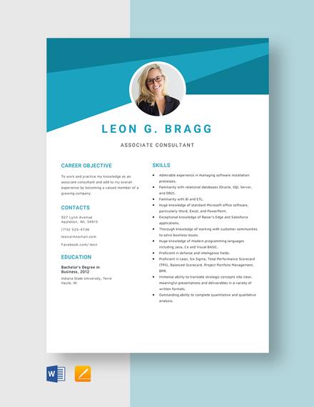 Associate Consultant Resume Template