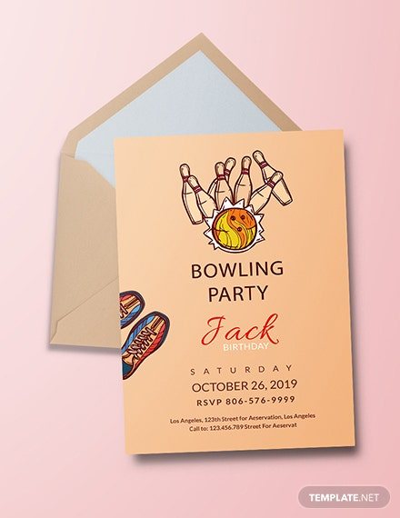 free bowling invitation party template