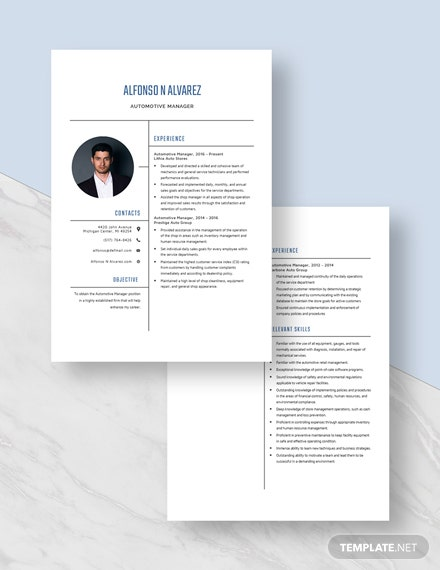Automotive Manager Resume Download