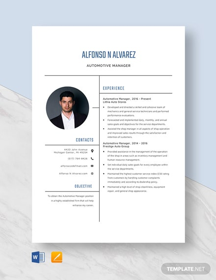 Automotive Manager Resume Template