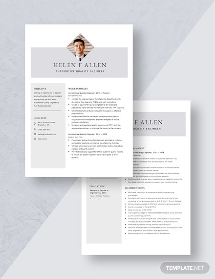Automotive Quality Engineer Resume Download