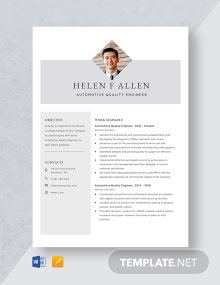 Automotive Quality Engineer Resume Template