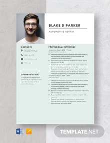 Automotive Repair Resume Template