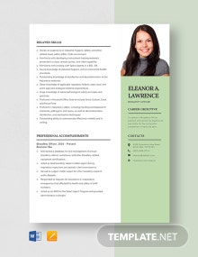 Bio-Safety Officer Resume Template
