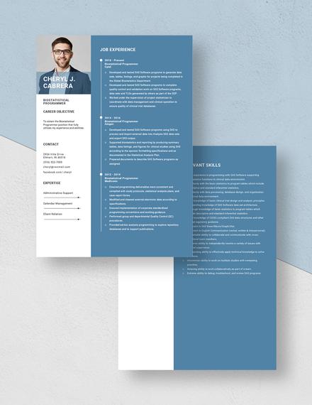 Biostatistical Programmer Resume Download