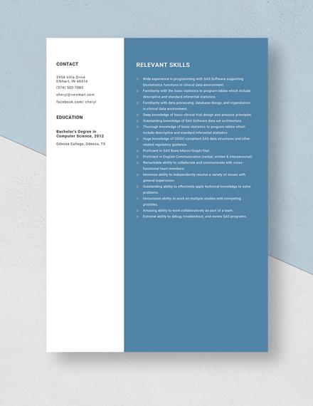 Biostatistical Programmer Resume Template