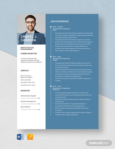 Bio-statistical Programmer Resume Template