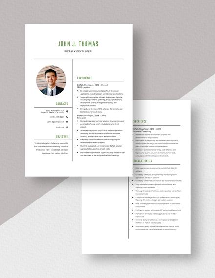Biztalk Developer Resume Download